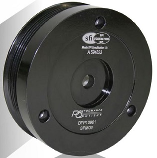 PRW 2442101 Steel 5.50 O.D 3-Piece Design SFI Rated Neutral Balance Damper with Black Billet Aluminum Pulley for Pontiac